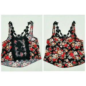 Free Kisses Crochet Lace Back Floral Crop Tank Top